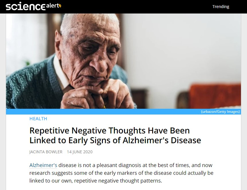 негативные мысли связаны с развитием болезни альцгеймера